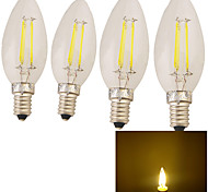 4PCS YouOKLight® E14 4W 4*LED 320LM 3000K Warm White Candle Bulbs  Edison LED Filament Light (220-240V)