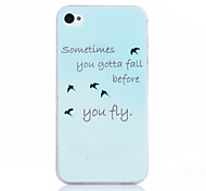 Be Free You Fiy Pattern TPU Soft Cover for iPhone 4/4S