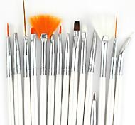 15PCS White Handle Nail Art Design Painting Drawing Pen Brush Set&5PCS 2-way Dotting Marbleizing Pen Tool