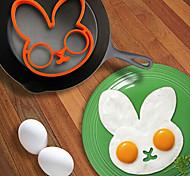 anneau de forme de lapin d'oeuf pour le petit déjeuner, des ustensiles de cuisine de moule d'oeuf, silicone