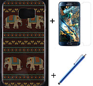 племенные ковры и слон шаблон ТПУ мягкий чехол с пленкой и емкостью ручка для Samsung Galaxy s6 G920