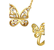 Gold Plated Fashion Butterfly Necklace Ring jewelry set(More Colors)