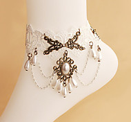 Vintage white lace jewelry anklet