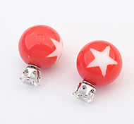 European Style Fashion Beautiful Star Pattern Candy Colored Stud Earrings Daily 2pcs