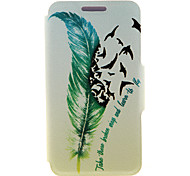 Kinston® Quill-pen Design Pattern PU Leather Full Body Case with Stand for Motorola moto E