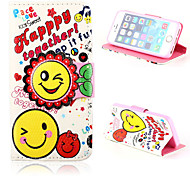 Sunflower Smile Pattern PU Leather Cover and Random color Capacitance Pen with Stand for iPhone 5/5S