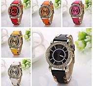 homens de luxo mulheres unisex clássico rodada banda de metal de quartzo analógico relógio de pulso de couro ocasional