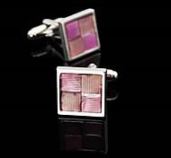 Toonykelly Fashion Men's silver Copper Pink Enamel Cufflink(1 Pair)