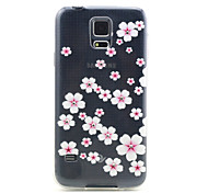 Samsung Galaxy S5 I9600 Compatible Pink Flowers with Diamante Design TPU Soft Back Cover Case