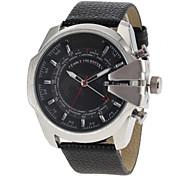 Men's Military Design Silver Case Black Leather Band Quartz Wrist Watch Cool Watch Unique Watch