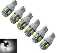 JIAWEN® 6pcs T10 1W 5X5050SMD 70-90LM 6000-6500K Cool White  LED Car Light (DC 12V)