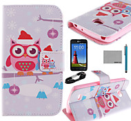 COCO FUN® Santa Owl Lover Pattern PU Leather Full Body Case with Screen Protector and USB Cable and Stylus for LG L80