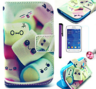 Cotton Candy Pattern PU Leather Case with Anti-dust Plug and Stylus and Film for Samsung Galaxy Young 2 G130