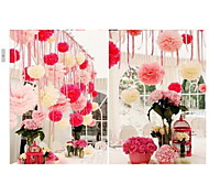 10 PCS 4 Inch(10cm) Tissue Paper Crafts Pom Poms Flower Party Decoration (Assorted Color)