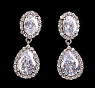 Vintage Women's Silver Drop Earrings CZ Crystal Diamond Earring For Wedding Bridal
