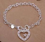 Diamond Heart Star 925 Silver Charm Bracelets  1pc