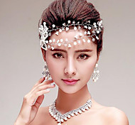 Imitation Pearls/Rhinestones/Crystal Titanium Jewelry Sets/Necklace with Earrings with Forehead piece