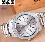Herrenmode Doppel Augen Kalender Quarz Analog Stahlband Armbanduhr (farbig sortiert)