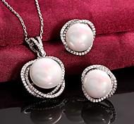 platino plateado aretes collar de perlas perla de la moda / joyería de la boda de circón