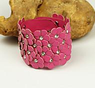 Fashion Women's Floral Leather Rivet Crystal Bracelet
