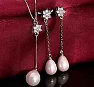 platino plateado de la perla pendientes collar de la joyería de la boda de circón de moda