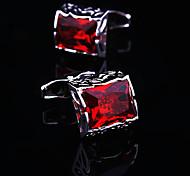 Toonykelly Fashion Men's Silver Copper Rhinestone Crystal Cufflink(1 Pair)