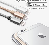 Assorted Colors Apple MFi Certified Lightning to USB Data Sync Charger Braid Cable for iphone 6/6plus/5s/5/ipad(100cm)