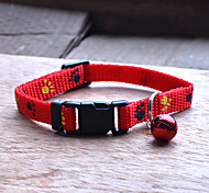 Super Cute Cat Adjustable Collars With Bells / Mini Dog Collar (Red)