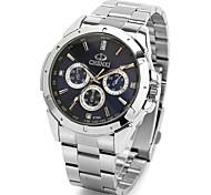 estilo casual banda de aço prata quartzo relógio de pulso dos homens