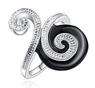 925 Silver Plated And Black Enamel Fancy Snail 2015 Fashion Ring