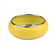 D Exceed Women's Bracelet European Brief Lemon Yellow Wide Bracelet Spray Paint Enamel Bangles