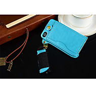 Lanyard Card PU Leather Case with Kickstand for iPhone 4/4S(Assorted Colors)