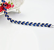 High Quality Fashion Women Platinum 10 KT Double Row Leaf Shape Round Diamond Cross Zircon Bracelets