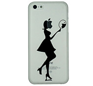Girl Looks in The Mirror Pattern Ultrathin PC Hard Back Cover Case for iPhone 5C
