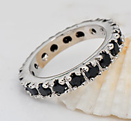 High Quality Fashion Platinum 10 KT Black Zircon Ring