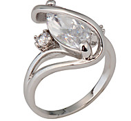 High Quality Fashion Women's Ring White Gold AAA Zircon White Sapphire