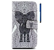 4.7 Inch Elephant Pattern PU Wallet Leather Case and Pen for LG L90 D405