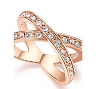 HKTC X Cross Designer Ring Band Micro Cubic Zircon Diamond Pave 18k Rose Gold Plated JewelryImitation Diamond Birthstone