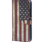 For Nokia Case Wallet / Card Holder / with Stand Case Full Body Case Flag Hard PU Leather Nokia