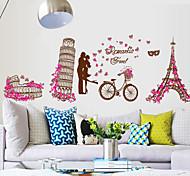 romantische Welt der Architektur Eiffelturm PVC-Wandaufkleber Wandkunst Aufkleber