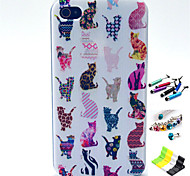 Kitty Pattern with Stylus ,Anti-Dust Plug and Stand TPU Soft Case for iPhone 4/4S