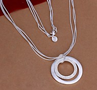 925 Silver Double Loop Pendant Necklace (1 Pc)