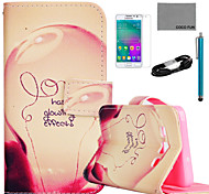 COCO FUN® Love Lamp Pattern PU Leather Case with Film and USB Cable and Stylus for Samsung Galaxy A3