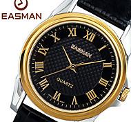 EASMAN Men's Dress Sapphire Dial Casual Roma Shape Genuine Leather Japan Movement Wristwatch
