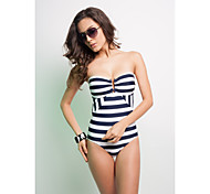 Sexy Blue Striped One-piece Bathing Suit