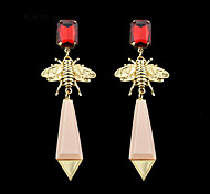 New Style Alloy Bee With Hanging Gemstone Long Daily Wear Earrings