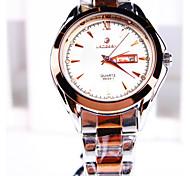orologi al quarzo tondo calendario diamante affari cinturino in acciaio quadrante Abbigliamento uomo (colori assortiti)