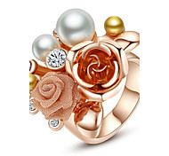 Ring Fashion Party Jewelry Alloy Women Statement Rings 1pc,One Size Rose Gold