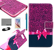 COCO FUN® Purple Leopard Pattern PU Leather Case with Film and USB Cable and Stylus for Samsung Galaxy S6