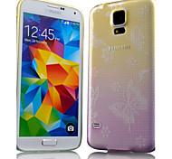 modello di farfalla sottile cambiamento graduale stampato cassa del telefono di tpu trasparente fresco per Samsung i9600 s5 (colori
